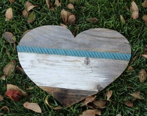 """The """"KADEN"""" SMALL Reclaimed Wood Heart Annie Sloan Aubusson Blue Rustic barnwood salvaged distressed farmhouse"""