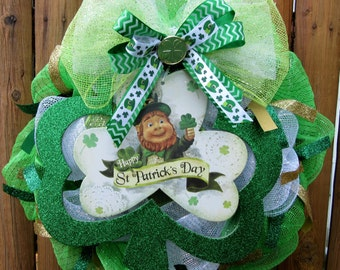 Saint Patrick's Day  Leprechaun Deco Mesh Wreath