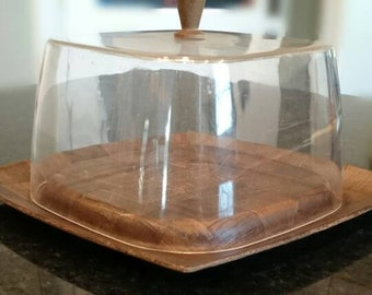 Weavewood Inc. Cheeseboard Serving Dish with Lucite Cover/MCM/Vintage Kitchen/Modern Kitchen
