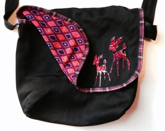 Reversible Messenger Bag - Black w Deer