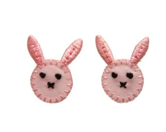 Set of 2 pcs Pink Rabbit Cute Appliques Embroidered Patch Iron On
