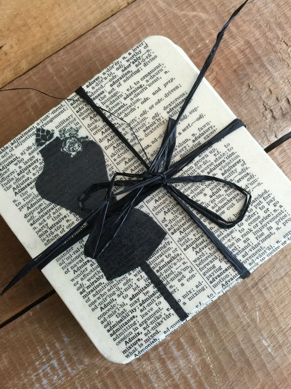 Crafters Gift Idea - Sewing Inspired Dictionary Print Coasters - Decoupaged Coasters - Sewing Room Decor - Cream and Black Home decor