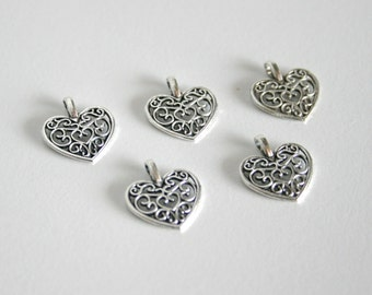 5 Tibetan Silver Filigree Heart Charms