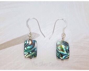 Abalone Earrings, Paua Shell Earrings, Stocking Filler, Birthday Gift, Christmas Gift, Silver Earrings, Drop Earrings, Dangle Earrings, Gift