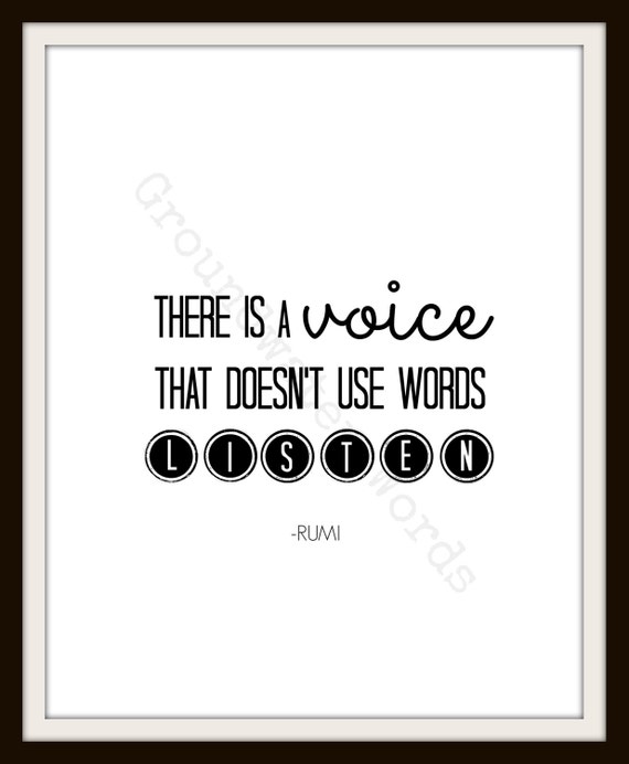 Authenticity Quote, There is a Voice, Printable Wall Art, Rumi Quote, Instant Download, Typography Quote