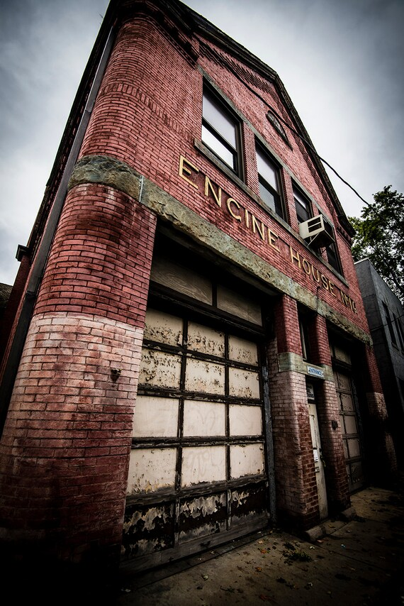 Firehouse, Fireman, Engine House, Wood Print, Abandoned, Rust, Primitive, Wall Art, Pittsburgh, Pennsylvania, Vertical, Primitive