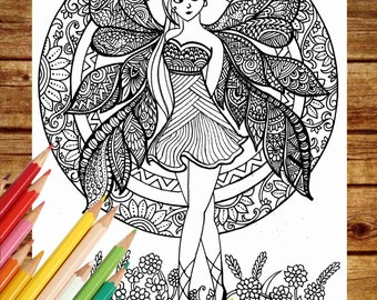 Fantasy Coloring Page, Fairy Coloring Book Pages, Printable Adult Coloring, Art Therapy, Fairy Coloring Pages, Instant Download Print