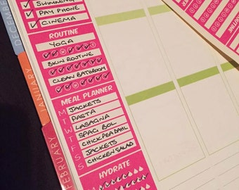 Weekly Side Bar Planner Stickers (1 sheet - 3 side bars)  SIDEBAR - to do , meal plan , hydrate, habit tracker for vertical planners  Happy