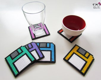 Geek floppy disk coasters
