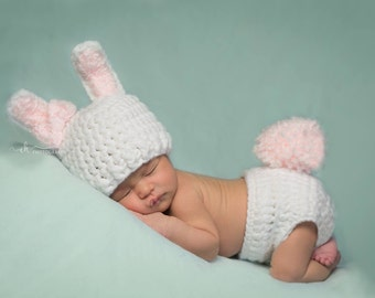 Baby bunny outfit, newborn bunny outfit, bunny photo prop, baby girl bunny, girl bunny outfit, infant bunny costume,