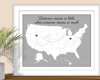 State Art, Distance Means So Little When Someone Means So Much - Hearts over City. Digital State Art Print. USA map