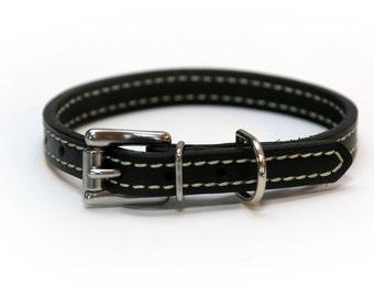 Premium Latigo Leather 1/2 Inch Wide Stiched Black Dog Collar
