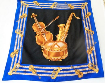Vintage Scarf, Musical Instrument Print Scarf, Gold Blue Scarf, Saxophone, Violin, Music Scarf, Musical notes scarf, Gift for Musician,