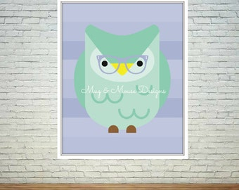 Instant Download-Hipster Owl Wall Printable Art Print, 8x10, nursery print, cute owl printable, #hipsterowl, #owldecor AD3350