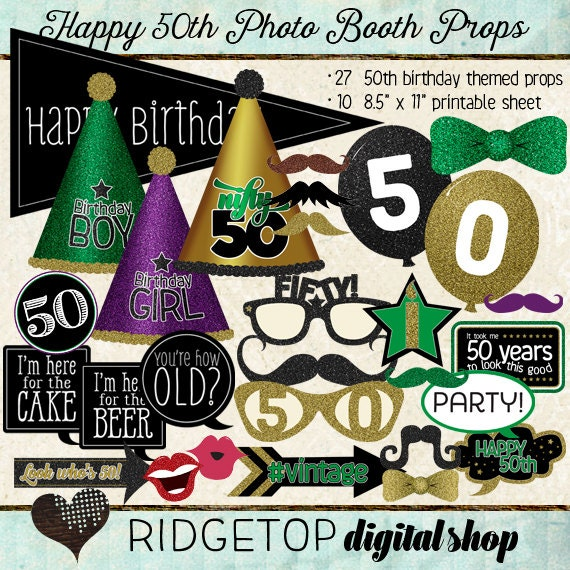 Items Similar To Photo Booth Props, HAPPY 50TH BIRTHDAY