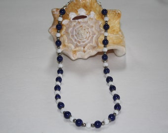 Navy Blue and White Beaded Necklace - Beaded Necklace, Blue and White, Handmade, Blue and White necklace