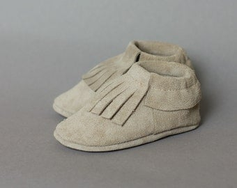 Light grey suede baby moccasins  Infant, newborn, toddler shoes
