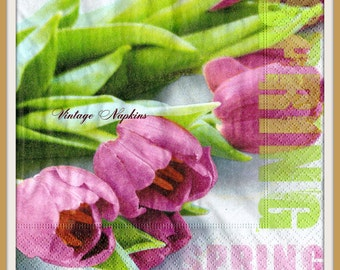 PAPER napkins for DECOUPAGE - Pink Tulips Spring #016
