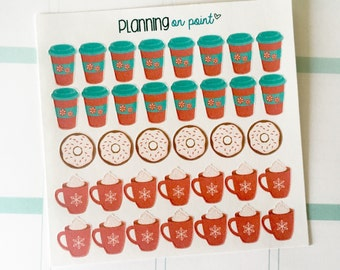 Peppermint Donuts, Latte, and Coffee Christmas Winter Planner Stickers!