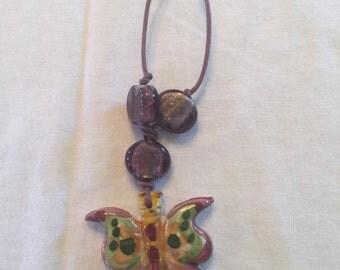 Italian ceramic butterfly necklace