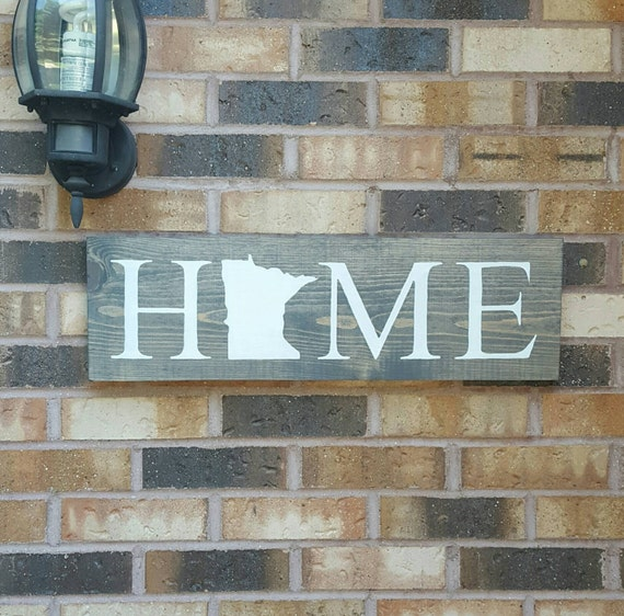 Minnesota Home Sign State Home Decor Rustic Home Sign