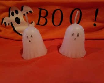 Adorable little ghost votives, set of 2 ghost votives, Halloween Candle, Halloween Decor