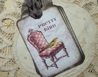 FOUR Vintage Bird on a Chair Hang Tags / Gift Tags