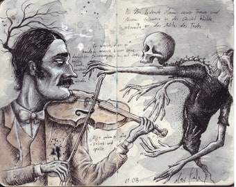A Man With His Violin (PRINT of one of my sketchbook pages)