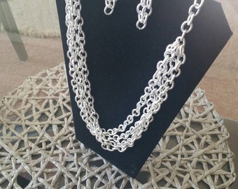 Silver Chain Necklace, Multi-Strand, Textured Silver Chain Links, Casual, Bright, Ethnic, Vintage Jewelry, Earrings, Adjustable, Chunky