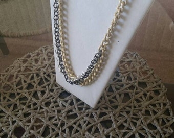 Chunky, Gold,Black, Silver, chain, asymmetrical, Multi-strand, large links, Ethnic Jewelry, Vintage, Adjustable