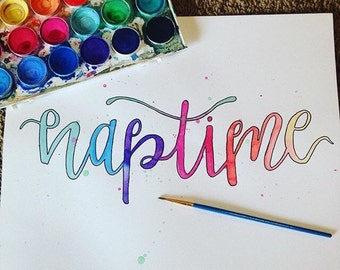 Custom watercolor print; Pick a word and colors; 5x7, 8x10, 11x14