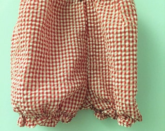 3T, Classic Baby Bloomers, Red and White Checked with Ruffled Hem