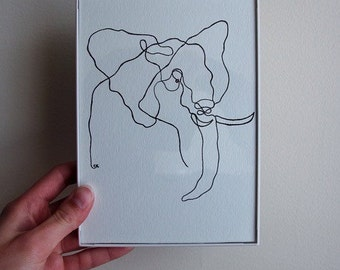Elephant Line Drawing 5x7 Original
