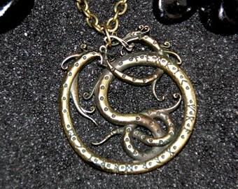 Celtic Snake Serpent Pendant Futhark Viking Pendant Celtic Knot Work Necklace with Runes : Bronze Handmade Pendant with chain