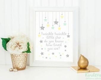 Twinkle little star print, yellow and mint nursery art, wall art prints, star print, newborn prints, kids prints