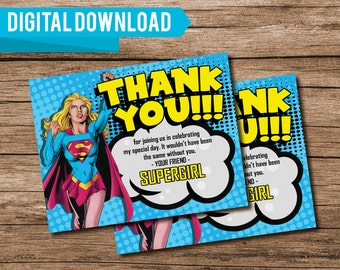 Supergirl Thank You Cards, Super Girl Thank You Cards, Supergirl Birthday Party, Super Girl Birthday Party, Printable Thank Yous, 253053850
