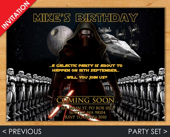 Digital Star Wars Birthday Invitation, Kylo Ren Invite, The Force Awakens Party Set with Invitation, Address Label, Favor Tag & Bottle Label