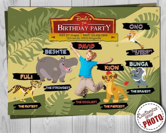 Lion Guard Invitation - Lion King Birthday Invite - Kion, Fuli, Bunga, Beshte, Ono - The Lion Guard Printables - Customizable Photo