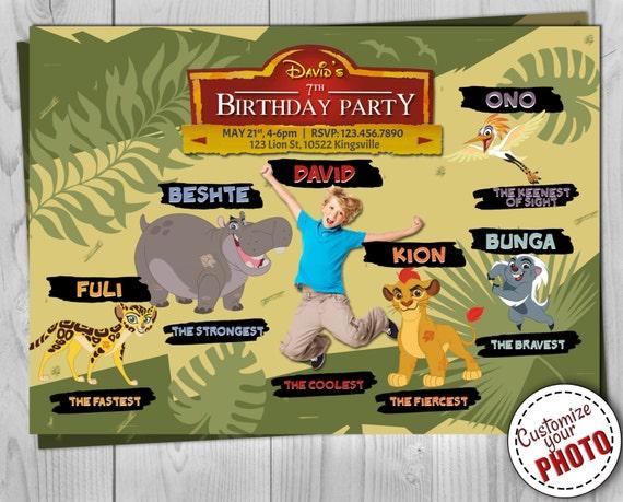 Lion Guard Invitation - Lion King Birthday Invite - Kion, Fuli, Bunga, Beshte, Ono - The Lion Guard Printables - Customizable Photo
