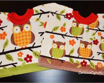 Baby Bibs, Baby/Toddler Tea Towel Bibs with Owls, Toddler Bibs