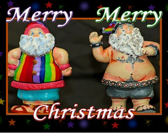 """Two Santa Claus Fridge Magnet 3.25""""x2.25"""" Collectibles (PMD11005)"""