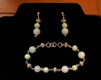 """Jasper and glass beaded bracelet and earrings set,silver tone findings,8""""bracelet,1.5"""" post earrings,10mm,8mm,handmade"""