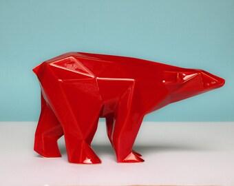Orso poligonale in ceramica colore rosso selenio