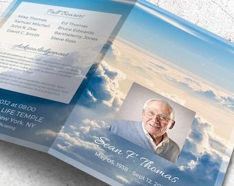 obituary pamphlet template - purple lavender floral funeral memorial service program