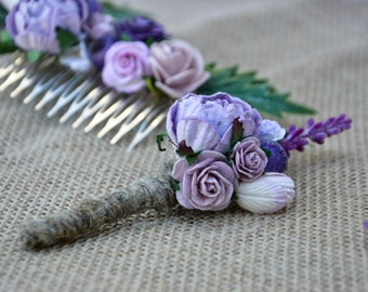 Wedding boutonniere, Lavander wedding, groomsmen button hole, Woodland rustic boutonniere.