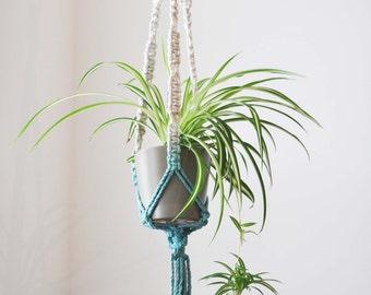 Macrame Plant Hanger - DIP DYE Teal
