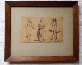 Antique ink drawing of three people in period custom