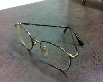 Vintage Armani Glasses - Made in Italy - Giorigo Armani Metal Frame Eye Wear - Well Marked - Tortoise Shell Gold Tone - Wonderful Gift
