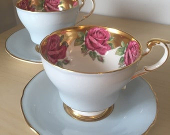 Paragon Roses Vintage Teacups and Saucers, Pink Rose Light Blue Tea Cups and Saucers, English Gold Floral China, Tea for Two, Tea Party