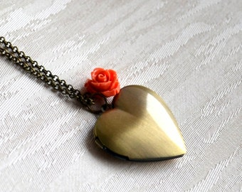 Orange Bridesmaid Locket necklace Bridesmaid jewelry Heart locket with orange flower Wedding jewelry Bridesmaid gift Vintage locket necklace